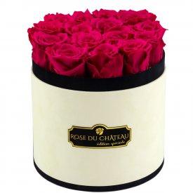 Różowe Wieczne Róże w Coco Flokowanym Boxie