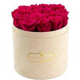 Różowe Wieczne Róże w Beżowym Flokowanym Boxie