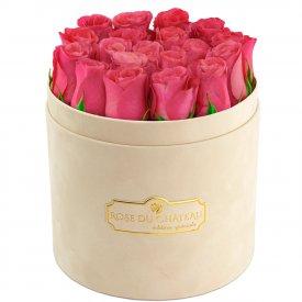 Édition Spéciale Beżowy Flokowany Box z Różowymi Różami Żywymi