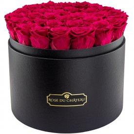 Różowe Wieczne Róże w Czarnym Mega Boxie