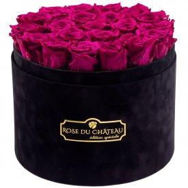 Różowe Wieczne Róże w Czarnym Dużym Flokowanym Boxie