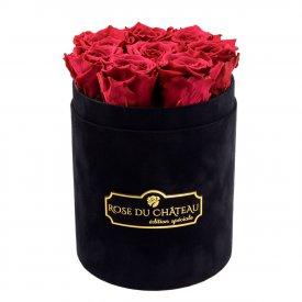 Różowe Wieczne Róże w Czarnym Małym Flokowanym Boxie
