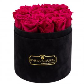 Różowe Wieczne Róże w Czarnym Flokowanym Boxie