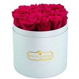 Różowe Wieczne Róże w Błękitnym Boxie