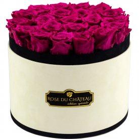 Różowe Wieczne Róże w Coco Dużym Flokowanym Boxie