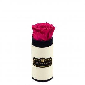 Różowa Wieczna Róża w Coco Mini Flokowanym Boxie