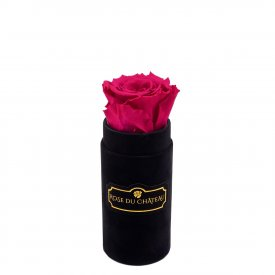 Różowa Wieczna Róża w Czarnym Mini Flokowanym Boxie