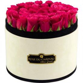 Różowe Róże Żywe w Dużym Coco Flokowanym Boxie