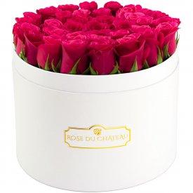 Różowe Róże Żywe w Białym Dużym Boxie