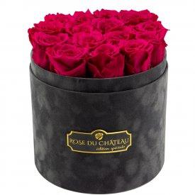 Różowe Wieczne Róże w Antracytowym Flokowanym Boxie