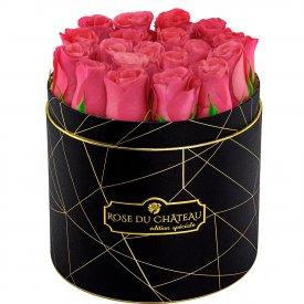 Édition Spéciale Czarny Industrialny Box z Różowymi Różami Żywymi