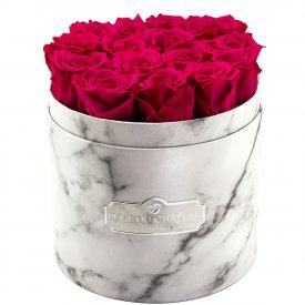 Różowe Wieczne Róże w Białym Marmurowym Boxie