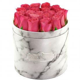 Édition Spéciale Biały Marmurowy Box z Różowymi Różami Żywymi