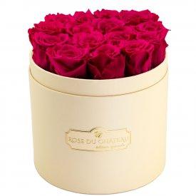 Różowe Wieczne Róże w Brzoskwiniowym Boxie