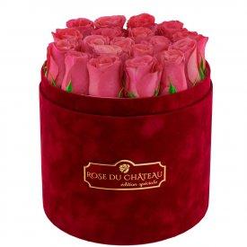 Édition Spéciale Bordowy Flokowany Box z Różowymi Różami Żywymi