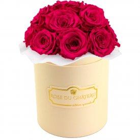 Różowe Wieczne Róże Bouquet w Brzoskwiniowym Boxie