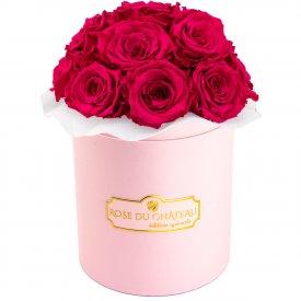 Różowe Wieczne Róże Bouquet w Różowym Boxie