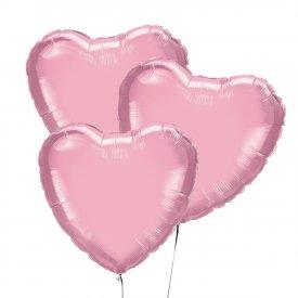 Trzy Różowe Balony Serce 46 cm