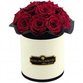 Czerwone Wieczne Róże Bouquet w Coco Flokowanym Boxie