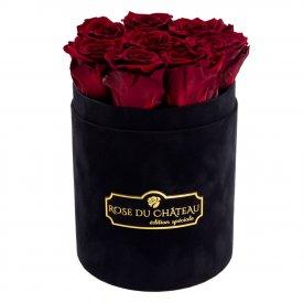 Czerwone Wieczne Róże w Czarnym Małym Flokowanym Boxie