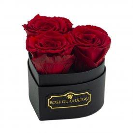 Czerwone Wieczne Róże w Czarnym Mini Boxie Heart