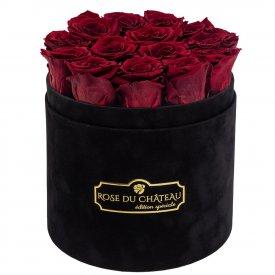 Czerwone Wieczne Róże w Czarnym Flokowanym Boxie