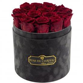 Czerwone Wieczne Róże w Antracytowym Flokowanym Boxie