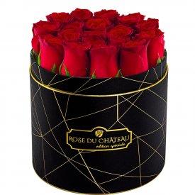 Édition Spéciale Czarny Industrialny Box z Czerwonymi Różami Żywymi