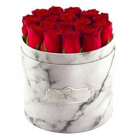 Édition Spéciale Biały Marmurowy Box z Czerwonymi Różami Żywymi