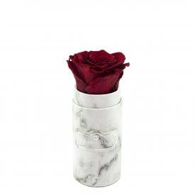 Czerwona Wieczna Róża w Białym Mini Marmurowym Boxie