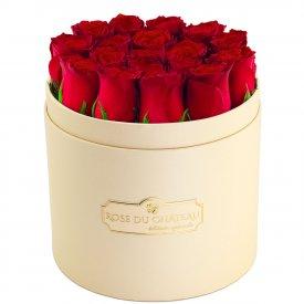 Édition Spéciale Brzoskwiniowy Box z Czerwonymi Różami Żywymi
