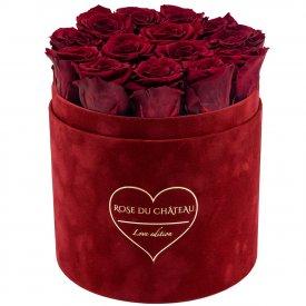 Czerwone Wieczne Róże w Czerwonym Flokowanym Flowerboxie - LOVE EDITION