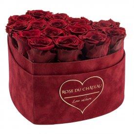 Czerwone Wieczne Róże w Czerwonym Flokowanym Boxie Heart - LOVE EDITION