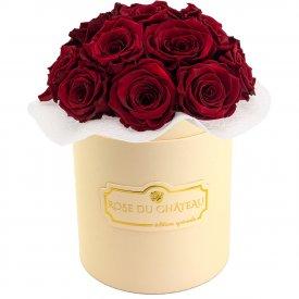 Czerwone Wieczne Róże Bouquet w Brzoskwiniowym Boxie