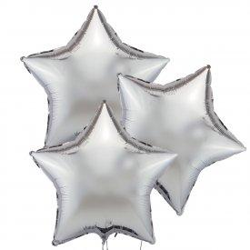 Trzy Srebrne Balony Gwiazda 46 cm
