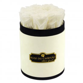 Białe Wieczne Róże w Coco Małym Flokowanym Boxie