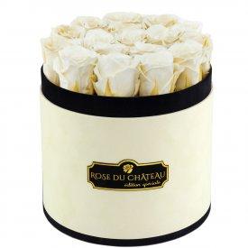Białe Wieczne Róże w Coco Flokowanym Boxie