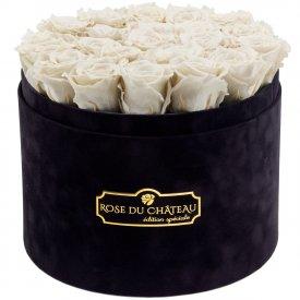 Białe Wieczne Róże w Czarnym Dużym Flokowanym Boxie