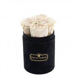 Białe Wieczne Róże w Czarnym Flokowanym Baby Boxie