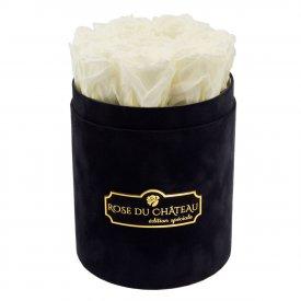 Białe Wieczne Róże w Czarnym Małym Flokowanym Boxie