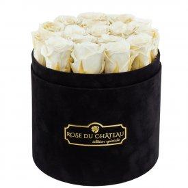 Białe Wieczne Róże w Czarnym Flokowanym Boxie