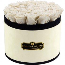 Białe Wieczne Róże w Coco Dużym Flokowanym Boxie