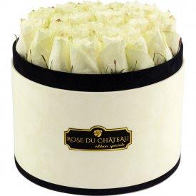 Białe Róże Żywe w Dużym Coco Flokowanym Boxie
