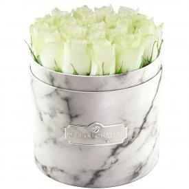 Édition Spéciale Biały Marmurowy Box z Białymi Różami Żywymi