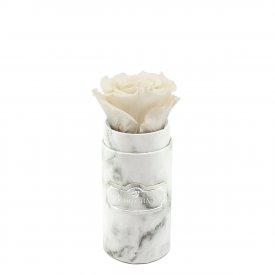 Biała Wieczna Róża w Białym Mini Marmurowym Boxie
