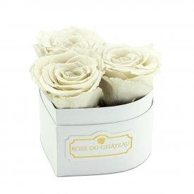 Białe Róże Wieczne w Białym Mini Boxie Heart