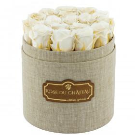 Białe Wieczne Róże w Lnianym Boxie