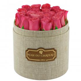 Edition Spéciale Lniany Box z Różowymi Różami Żywymi