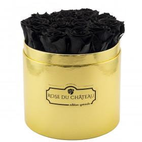 Czarne Wieczne Róże w Złotym Boxie