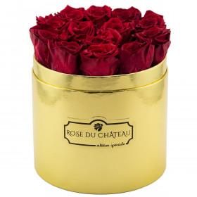 Czerwone Wieczne Róże w Złotym Boxie